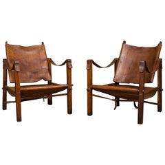 Pair of Vintage Brown Leather Safari Chairs, 1960s
