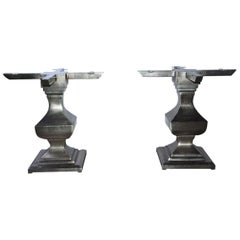 Pair of  Brushed Iron Pedestal Table Bases