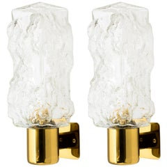Pair of Vintage Brutalist Sconces in Glass and Brass Metal by Kalmar, c. 1960s