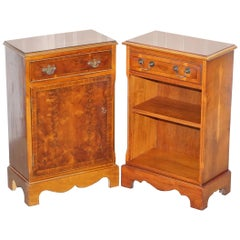 Pair of Vintage Burl Yew Wood Lamp, End or Wine Table Cupboards with Drawers