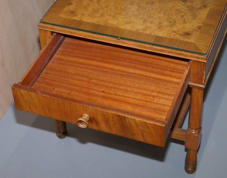 Pair of Vintage Burr Walnut Long Side Tables with Drawers Both Ends & Glass Tops For Sale 7