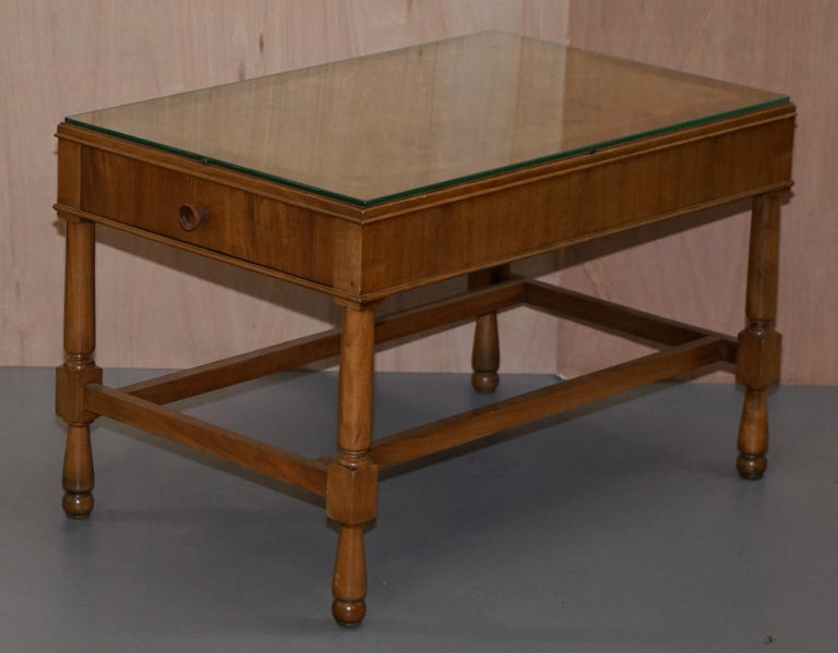 English Pair of Vintage Burr Walnut Long Side Tables with Drawers Both Ends & Glass Tops For Sale