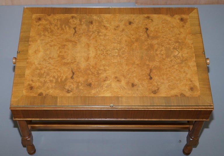 Hand-Crafted Pair of Vintage Burr Walnut Long Side Tables with Drawers Both Ends & Glass Tops For Sale