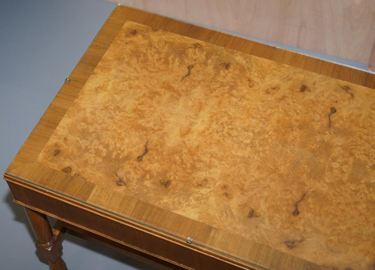 Pair of Vintage Burr Walnut Long Side Tables with Drawers Both Ends & Glass Tops In Good Condition For Sale In London, GB