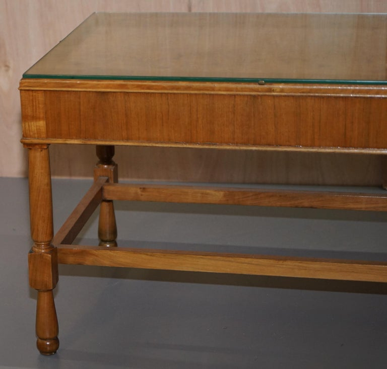 Pair of Vintage Burr Walnut Long Side Tables with Drawers Both Ends & Glass Tops For Sale 2