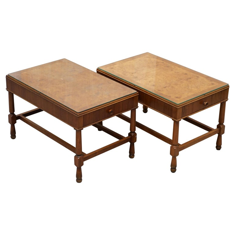Pair of Vintage Burr Walnut Long Side Tables with Drawers Both Ends & Glass Tops For Sale