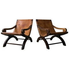Pair of Vintage Butaque Leather Sling Lounge Chairs