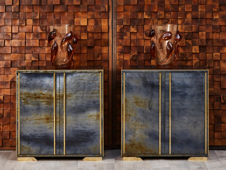 Pair of vintage wooden cabinets, entirely restored and customized with old Murano glass and brass inlays.  2 doors. Italy, 1980s.
