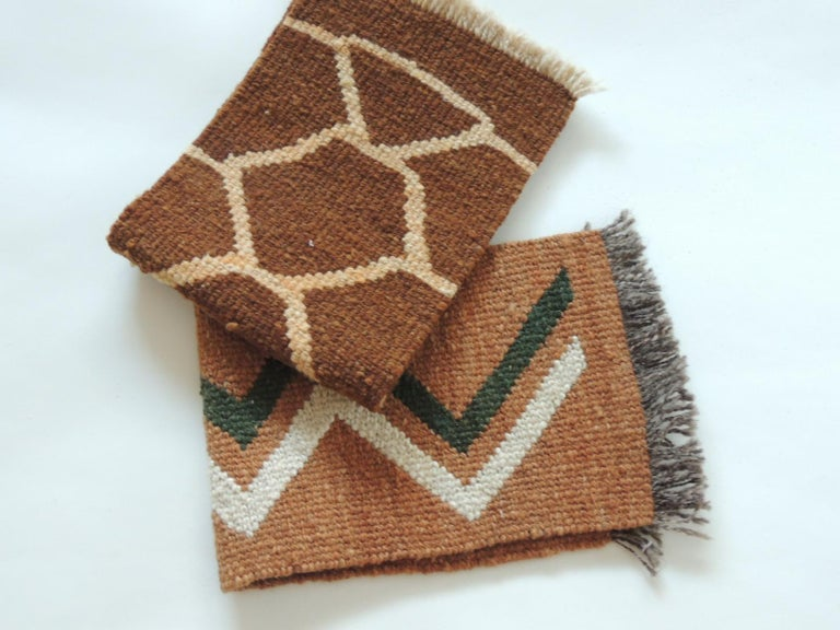 Spanish Pair of Vintage Camel and Brown Woven Rug Samples For Sale
