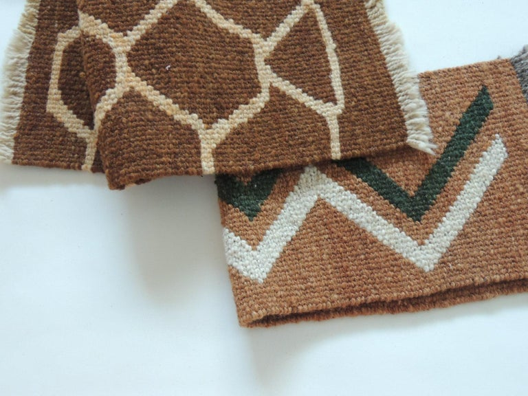 Pair of Vintage Camel and Brown Woven Rug Samples In Good Condition For Sale In Fort Lauderdale, FL