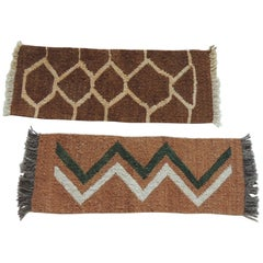 Pair of Vintage Camel and Brown Woven Rug Samples