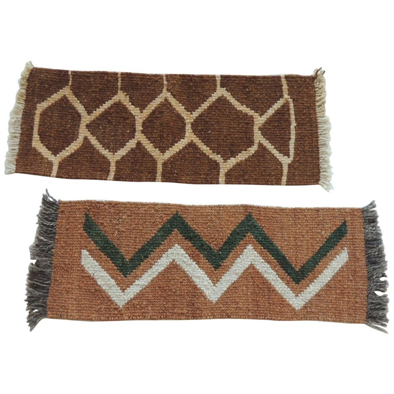 Pair of Vintage Camel and Brown Woven Rug Samples For Sale