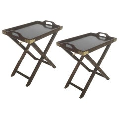 Pair of Vintage Campaign Style Folding Trays
