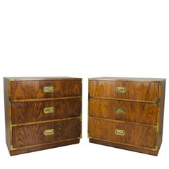 Pair of Vintage Campaigner Chests by Dixie