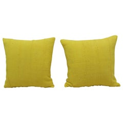 Pair of Vintage Canary Yellow African Mud Cloth Square Decorative Pillows