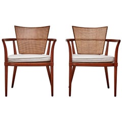 Pair of Vintage Cane Back Chairs by Bert England