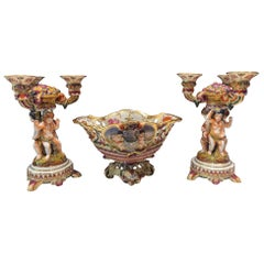 Pair of Vintage Capodimonte Candelabra and Compote