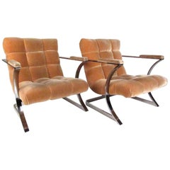 Pair of Vintage Carsons Flat Bar Floating Sling Chairs after Milo Baughman