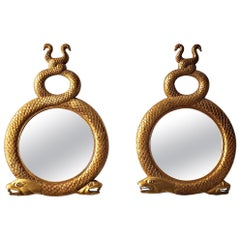 Pair of Vintage Carved Gilt Serpent Snake Wall Mirrors