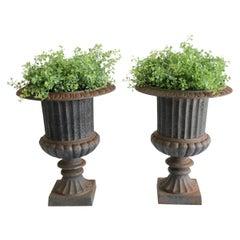 Pair of Vintage Cast Iron Pedestal Urns