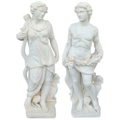 Pair of Vintage Cast Sone Statues of Apollo & Diana