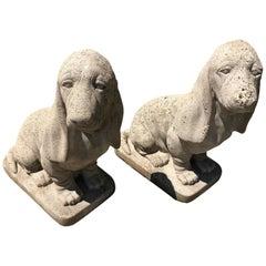 Pair of Vintage Cement Bassett Hound Garden Sculptures