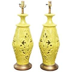 Pair of Vintage Ceramic Lamps, USA 1960s