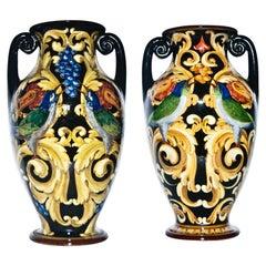 Pair of Vintage Ceramic Vases by Renato Bassanelli, Italy, circa 1924