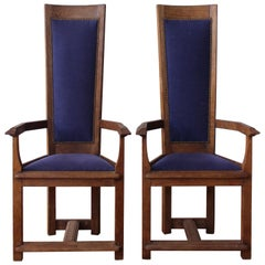 Pair of Vintage Gauged Oak Hall Chairs, France, 1940s