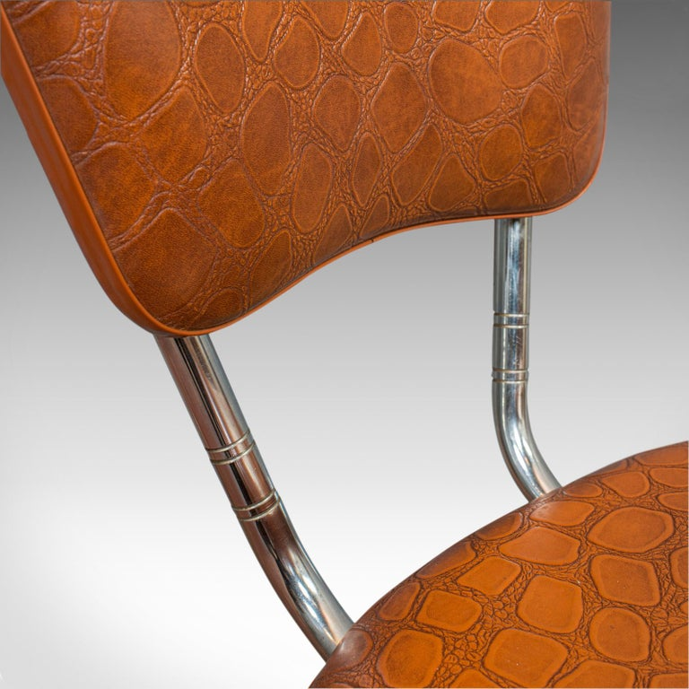 Pair of Vintage Chairs, French, Faux Crocodile Upholstery, Desk, Breakfast Chair For Sale 4
