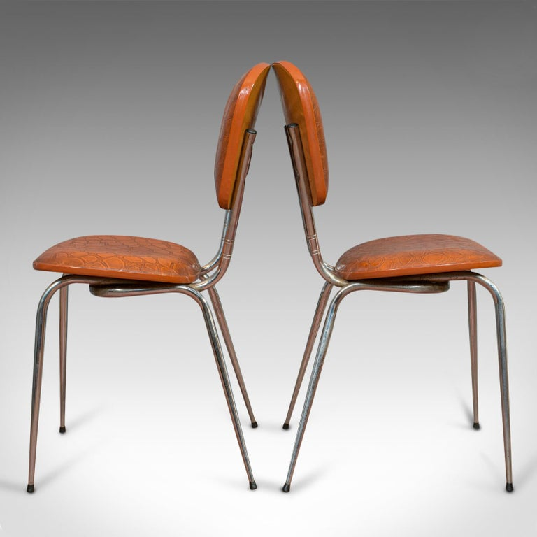 Mid-Century Modern Pair of Vintage Chairs, French, Faux Crocodile Upholstery, Desk, Breakfast Chair For Sale