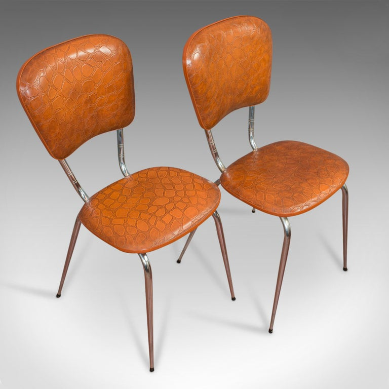 20th Century Pair of Vintage Chairs, French, Faux Crocodile Upholstery, Desk, Breakfast Chair For Sale