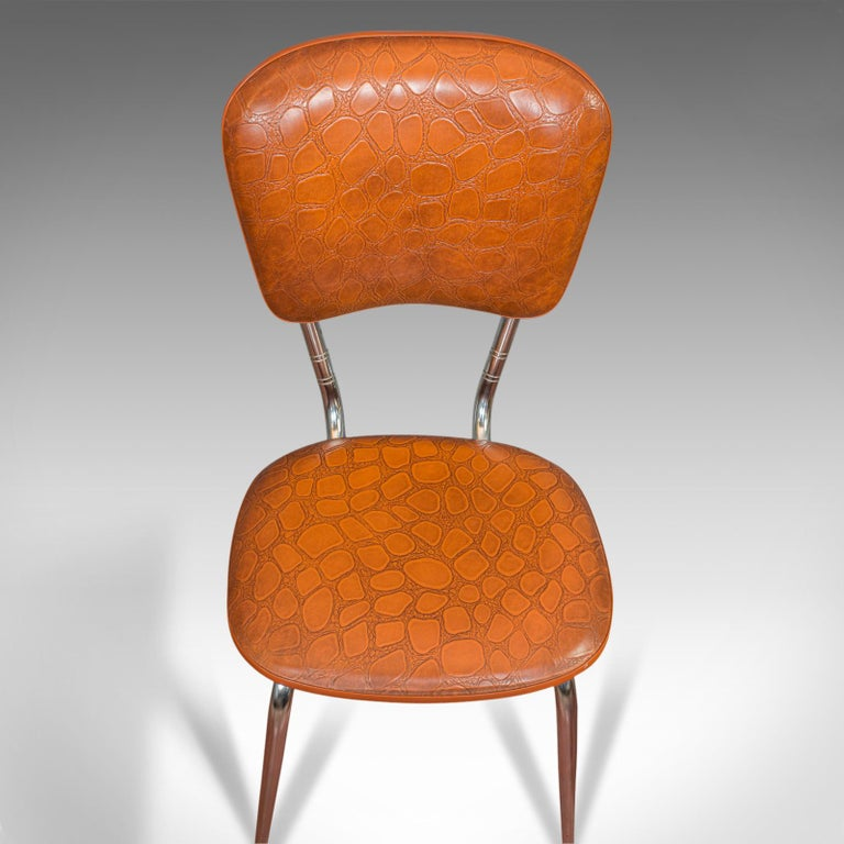 Faux Leather Pair of Vintage Chairs, French, Faux Crocodile Upholstery, Desk, Breakfast Chair For Sale