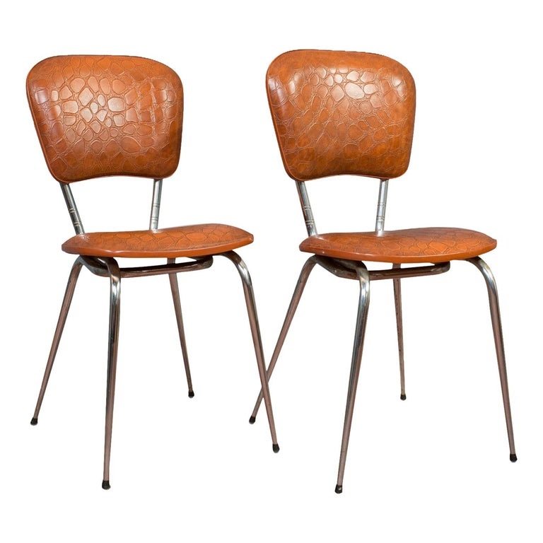 Pair of Vintage Chairs, French, Faux Crocodile Upholstery, Desk, Breakfast Chair For Sale