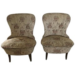 Pair of Vintage Chairs in Original Floral Fabric