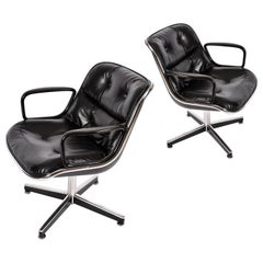 Pair of Vintage Charles Pollack for Knoll Black Leather Executive Chairs