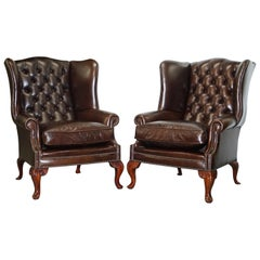 Pair of Vintage Chesterfield Tufted Heritage Brown Leather Wingback Armchairs