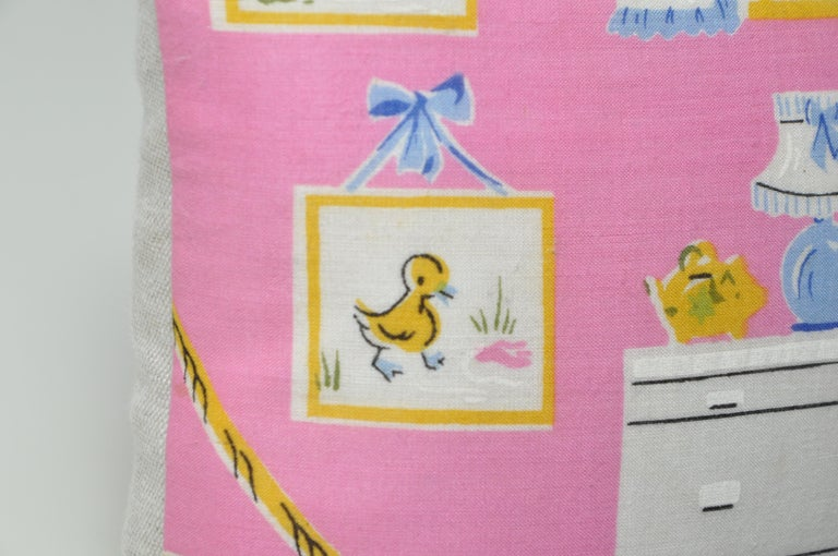 Pair of Vintage Children's Scarf Cushions Pillows with Irish Linen Backing Pink For Sale 2