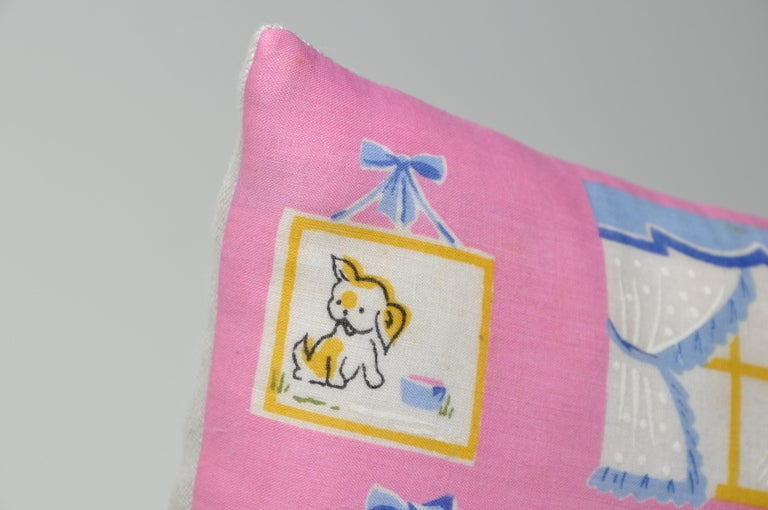 Pair of Vintage Children's Scarf Cushions Pillows with Irish Linen Backing Pink For Sale 3