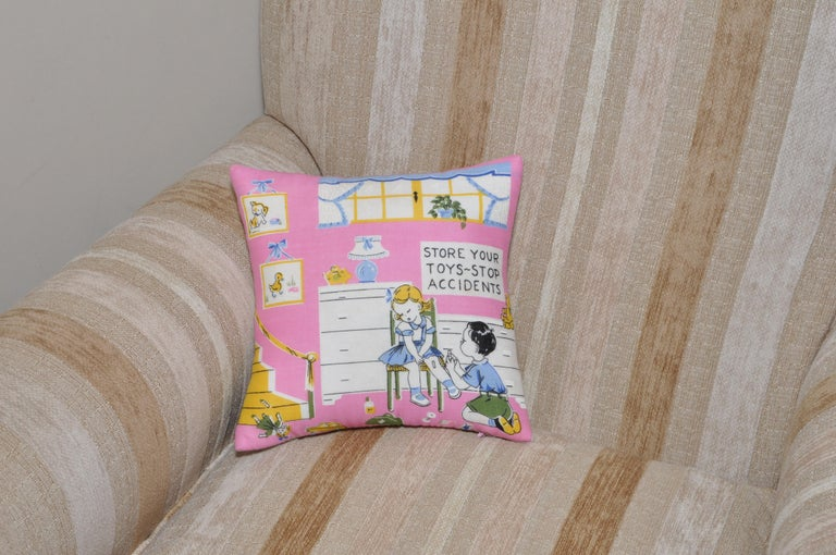 Pair of Vintage Children's Scarf Cushions Pillows with Irish Linen Backing Pink For Sale 5