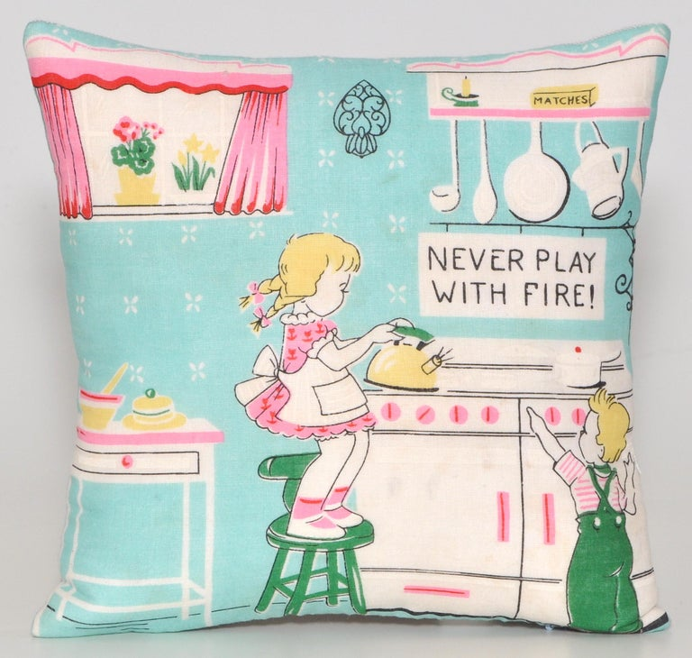 Pair of vintage children's scarf cushions pillows with Irish linen backing   Custom made one-of-a-kind pair of super-cute cushions (pillows to our American customers) created from a set of rare vintage circa 1950s children's handkerchieves in an