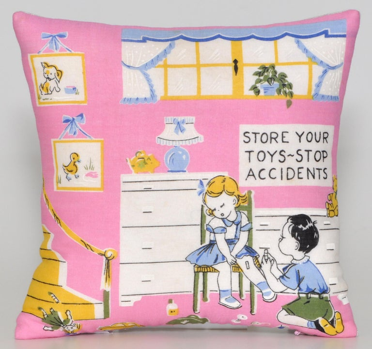 20th Century Pair of Vintage Children's Scarf Cushions Pillows with Irish Linen Backing Pink For Sale