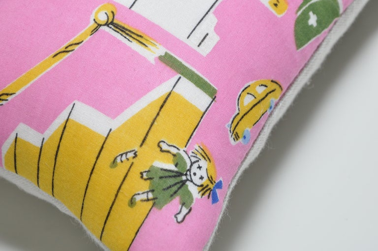 Cotton Pair of Vintage Children's Scarf Cushions Pillows with Irish Linen Backing Pink For Sale