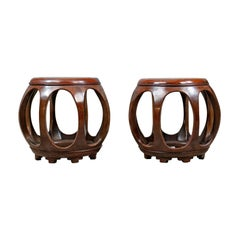 Pair of Vintage Chinese Barrel Side Tables, Huali Rosewood, Stools, 20th Century