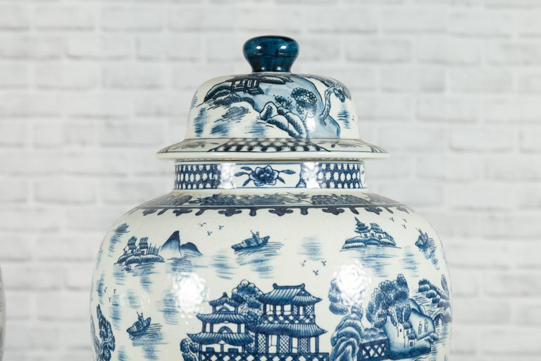 Pair of Vintage Chinese Blue and white Porcelain Temple Jars with Architectures For Sale 6