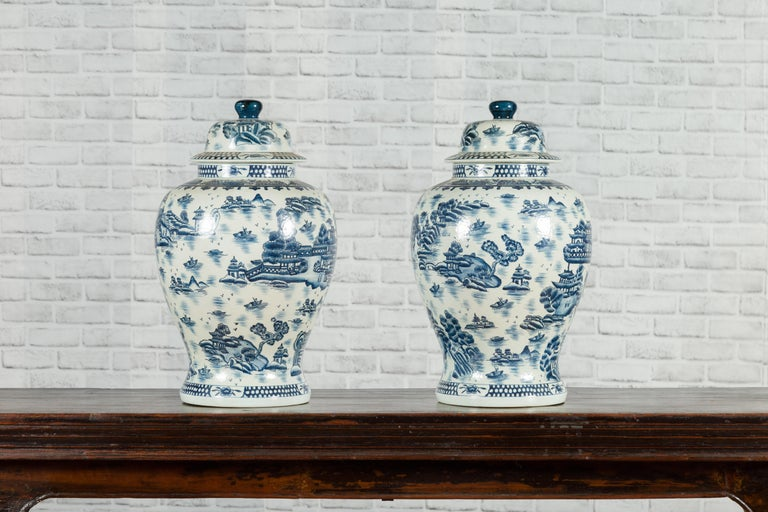 Pair of Vintage Chinese Blue and white Porcelain Temple Jars with Architectures For Sale 9