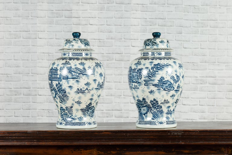Pair of Vintage Chinese Blue and white Porcelain Temple Jars with Architectures For Sale 10