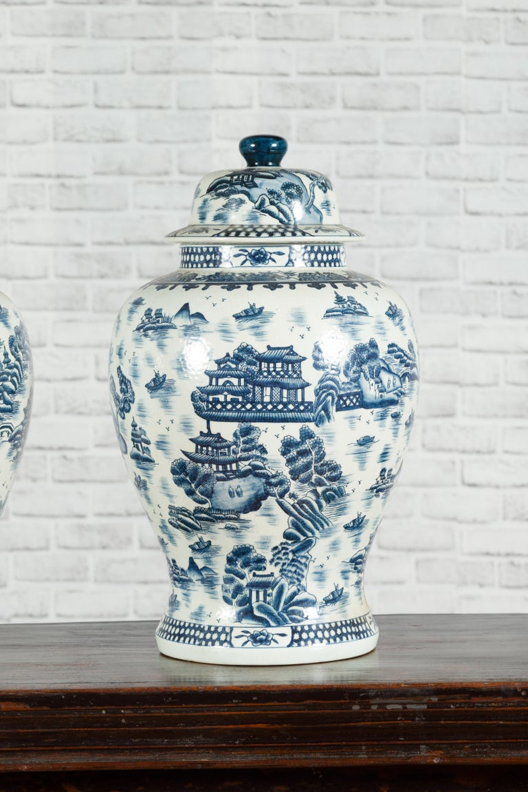 Pair of Vintage Chinese Blue and white Porcelain Temple Jars with Architectures For Sale 2