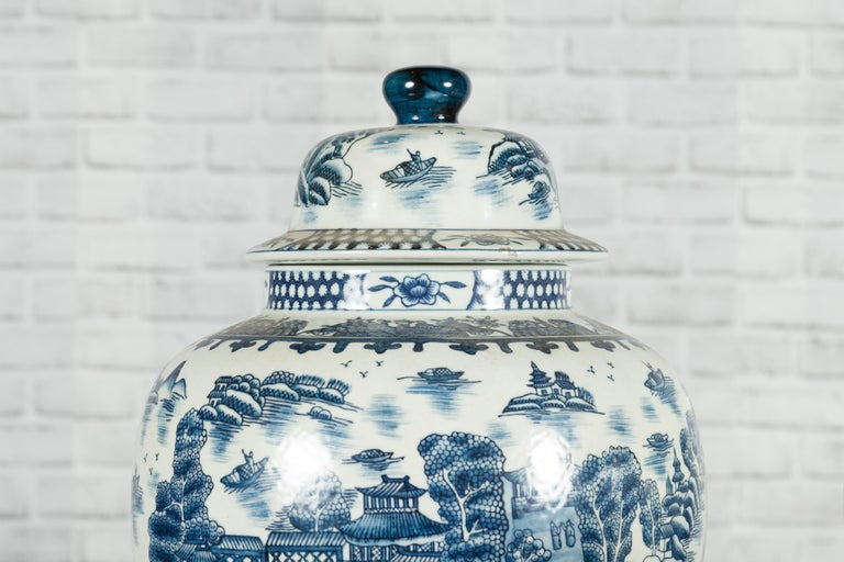 Pair of Vintage Chinese Blue and white Porcelain Temple Jars with Architectures For Sale 3