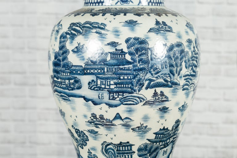Pair of Vintage Chinese Blue and white Porcelain Temple Jars with Architectures For Sale 4